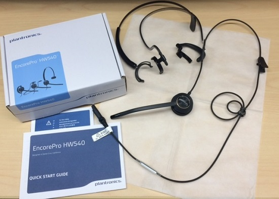 Plantronics HW540 One-Ear EncorePro Headset with Hook and Neck Clip and DA90